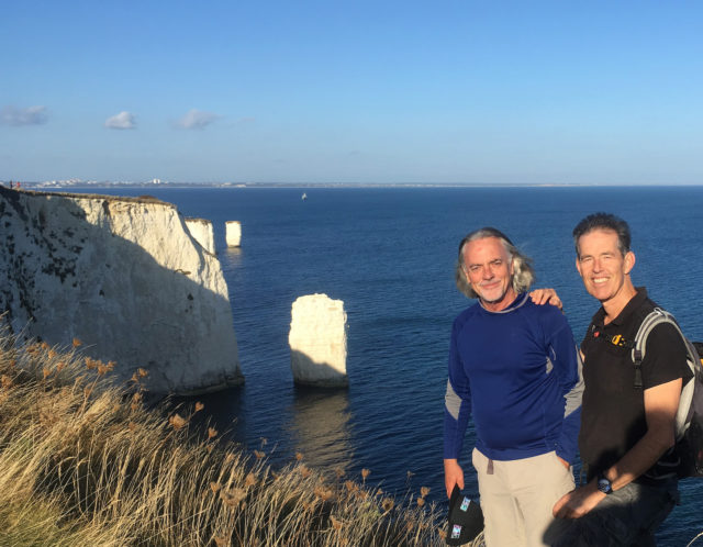 Chris and myself, with Old Harry standing farthest in the distance.